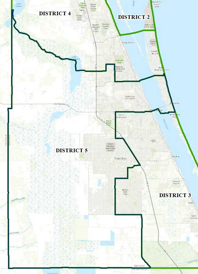 Map of Brevard County District Five