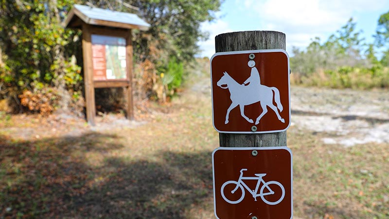 Horse Riding trail sign on post