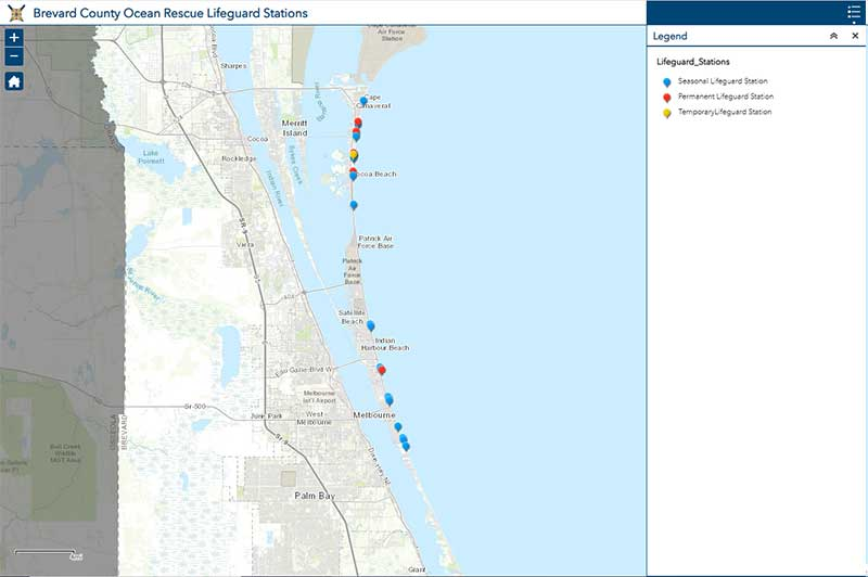 Screenshot of Ocean Rescue Lifeguard Stations Map. Click link for details.