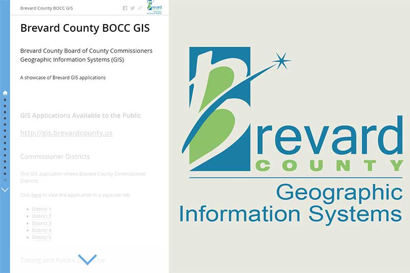 Screenshot of Brevard GIS Showcase application. Click link for details.