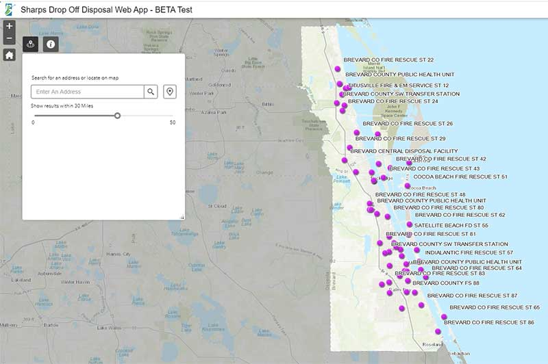 Screenshot of Sharps Drop-Off Locations Map. Click link for details.