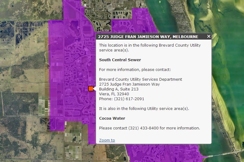 Screenshot of Utility Service Area Map. Click link for details.