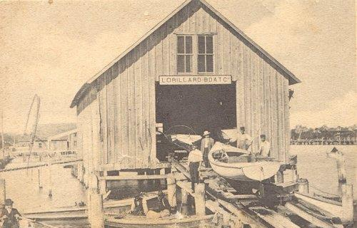 Boat house at the end of Titusville's City Dock at Main Street, home to the commercial fishing industry established in 1885.