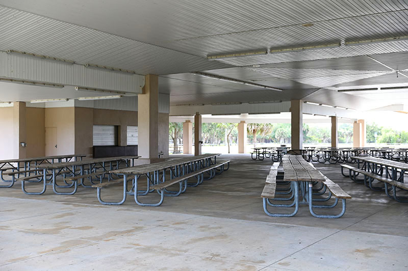 Tables inside large pavilion