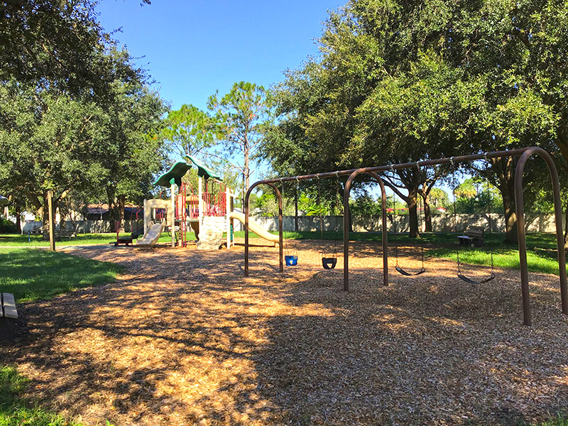 Wide shot of playground