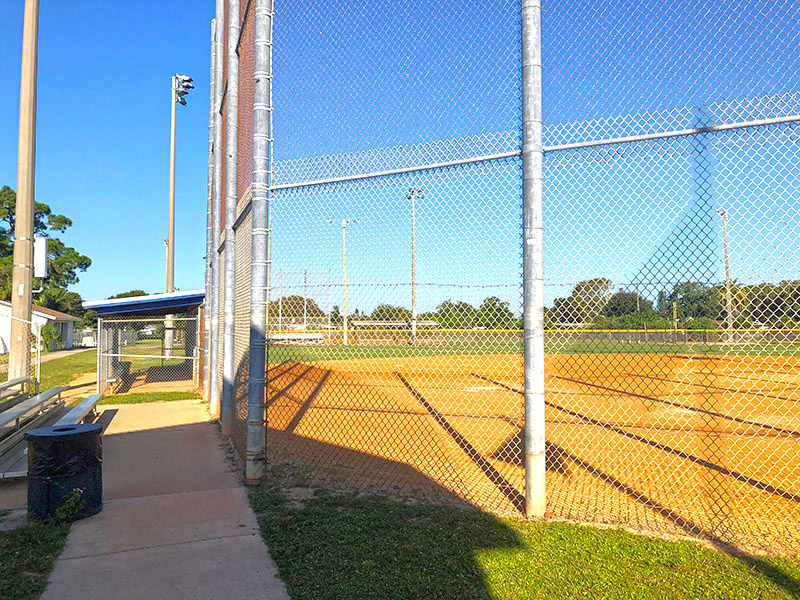 Softball field, stands and dugout