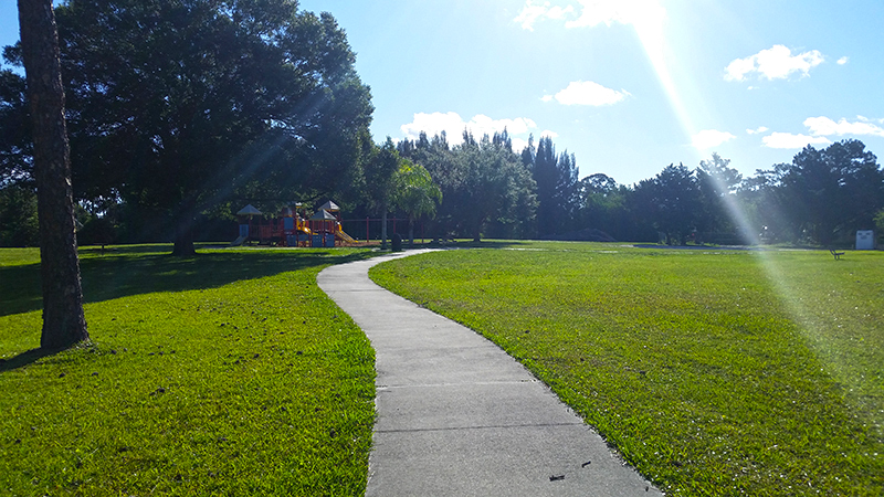 Sidewalk through middle of park
