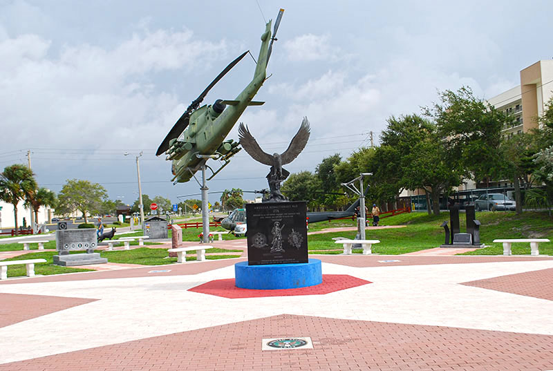Helicopter and memorial with eagle