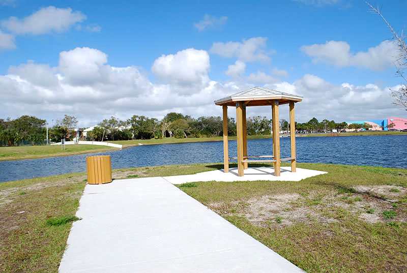 Covered Bench near water