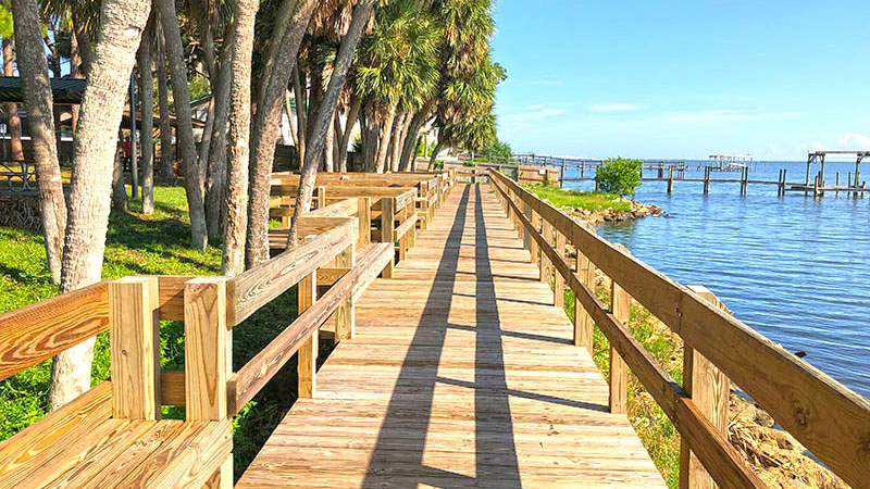 Boardwalk along river