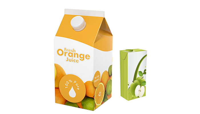 Orange juice carton and juice box