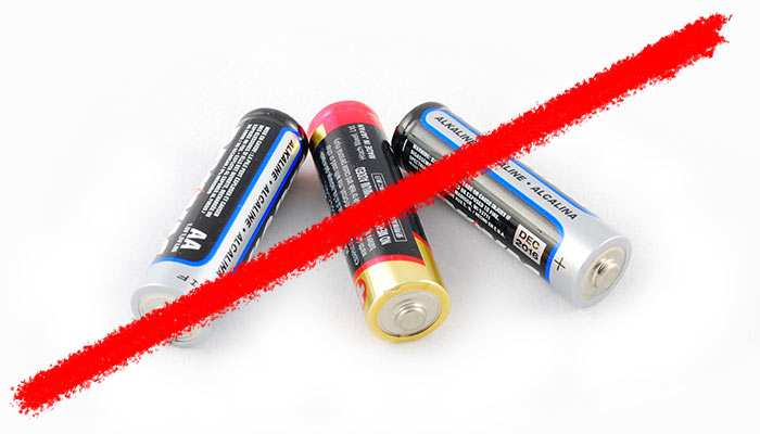 Line striking through alkaline batteries