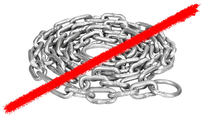 Line striking through coiled chain