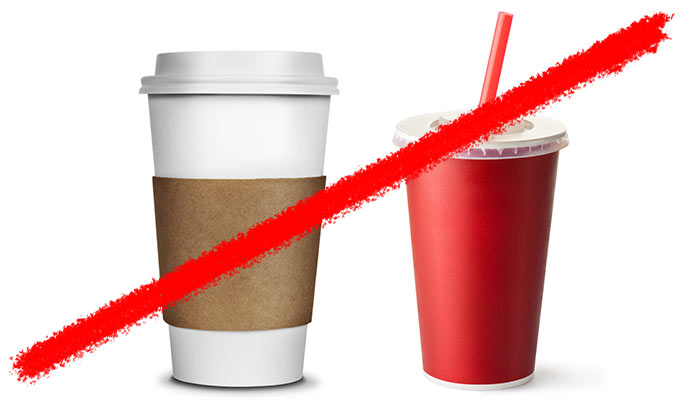 Line striking through paper coffee cup and plastic soda cup