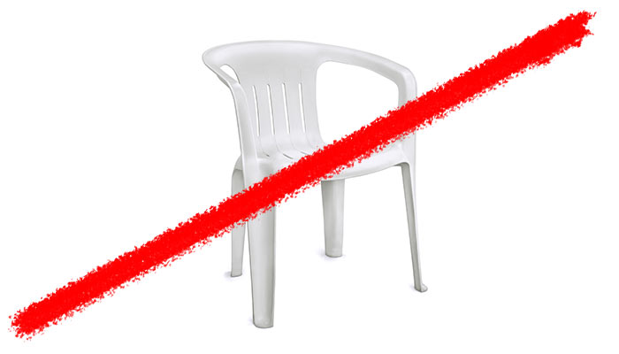 Line striking through plastic yard chair