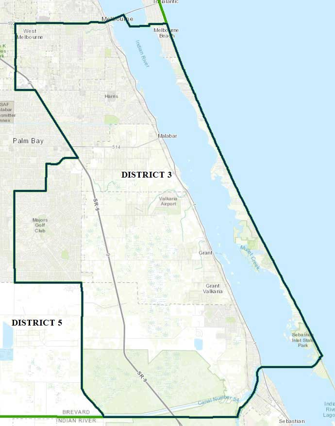 Map of Brevard County District Three