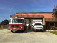 Ambulance and fire truck in front of Station 62