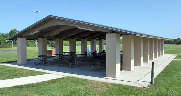 Large pavilion with multiple tables