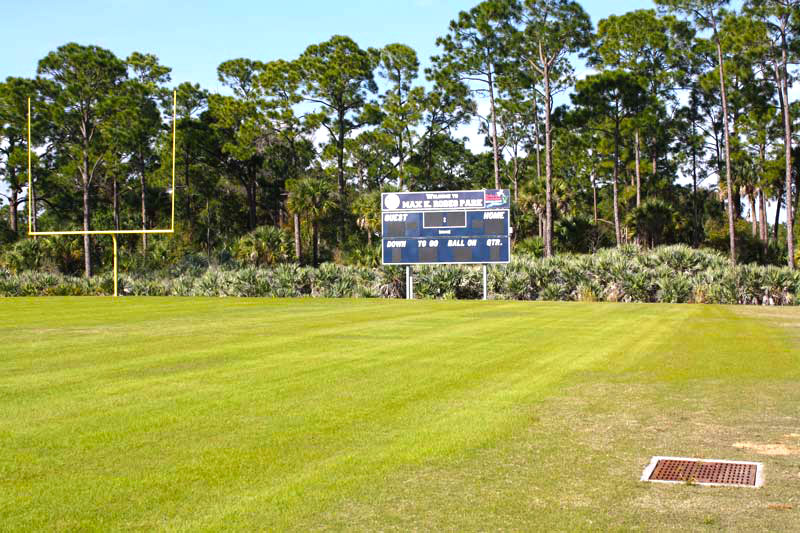 Football Field and scoreboard