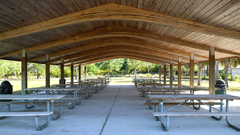 Picnic Tables in pavillion