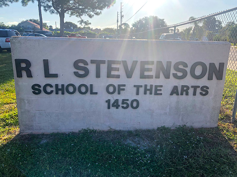 R L Stevenson School of the Arts Sign