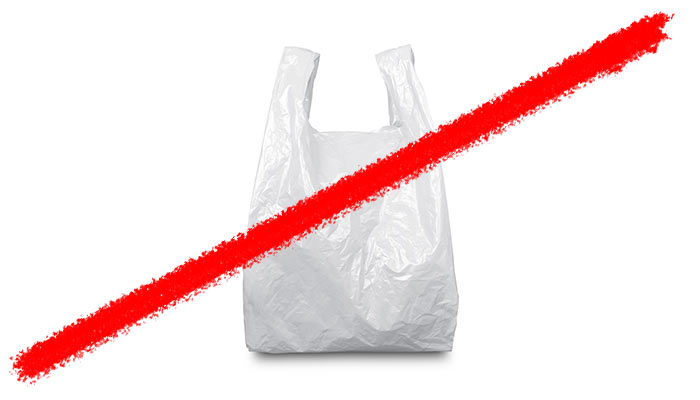 Line striking through a plastic shopping bag