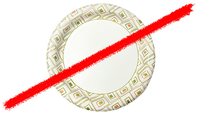 Line striking through paper plate
